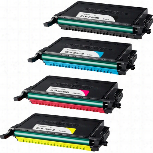 4 Pack - Premium compatible replacement toner cartridge for Samsung CLP-660B. Set includes 1 Black, 1 Cyan, 1 Magenta and 1 Yellow toner cartridge