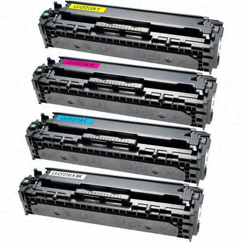 4 Pack - Premium remanufactured replacement toner cartridge for HP 131X Black and HP 131A Color. Set includes 1 Black (CF210X), 1 Cyan (CF211A), 1 Magenta (CF213A) and 1 Yellow (CF212A) toner cartridge