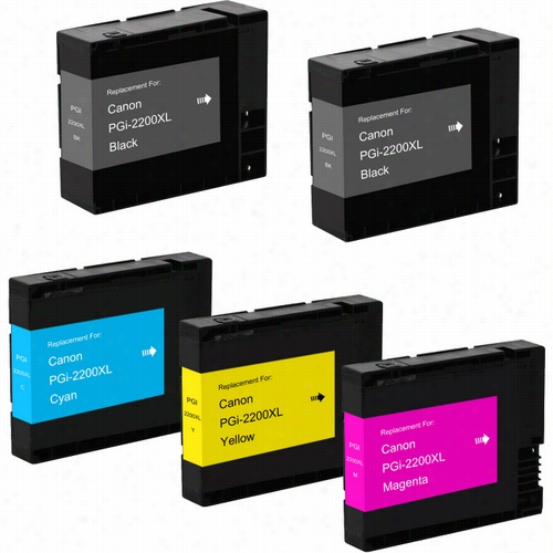 5 Pack - Premium compatible replacement High Yield ink cartridge for Canon PGI-2200XL Black and Color. Set includes 2 Black, 1 Cyan, 1 Magenta and 1 Yellow ink cartridge