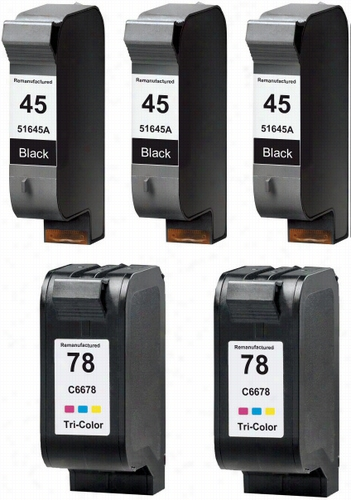 5 Pack - Premium remanufactured replacement ink cartridge for HP 45A and 78. Set includes 3 Black and 2 Color cartridges