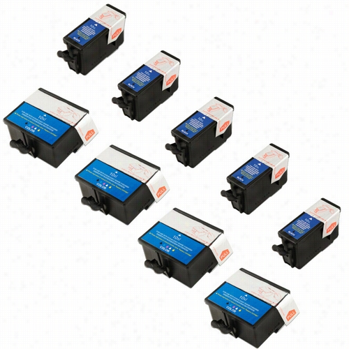 9 Pack - Premium compatible replacement ink cartridge for Kodak 10. Set includes 5 Black and 4 Color ink cartridges