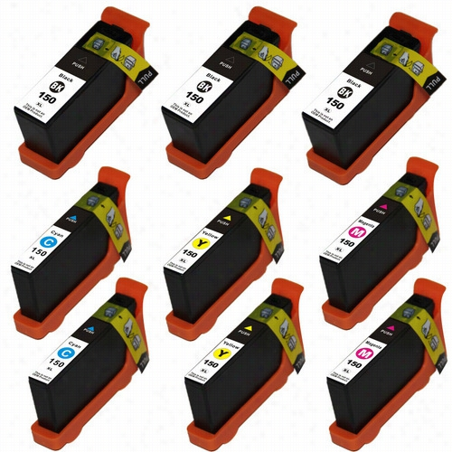 9 Pack - Premium compatible replacement ink cartridge for Lexmark 150XL series. Set includes 3 Black, 2 Cyan, 2 Magenta and 2 Yellow cartridges