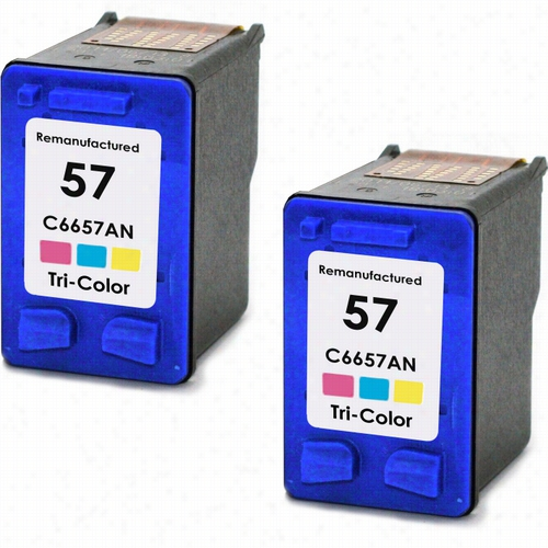 Twin Pack - Premium remanufactured replacement Color ink cartridge for HP 57 (C6657AN)