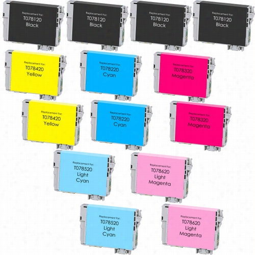 14 Pack - Premium remanufactured replacement ink cartridge for Epson T078. Set includes 4 Black, 2 Cyan, 2 Magenta, 2 Yellow, 2 Light Cyan and 2 Light Magenta cartridges