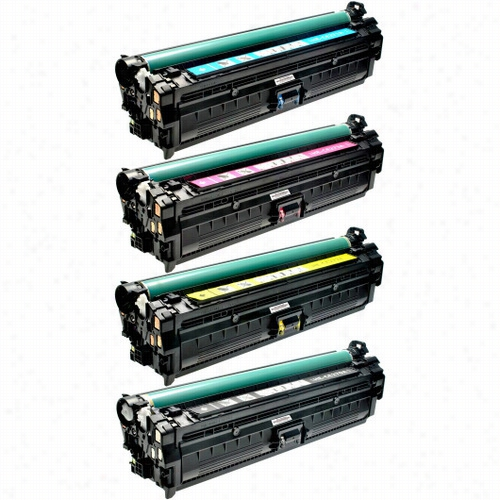 4 Pack - Premium remanufactured replacement toner cartridge for HP 650A. Set includes 1 Black, 1 Cyan, 1 Magenta and 1 Yellow toner cartridge