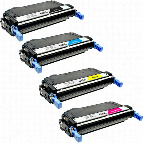 4 Pack - Premium remanufactured replacement toner cartridge for HP 645A, (C9730A, C9731A, C9732A, C9733A) Set includes 1 Black, 1 Cyan, 1 Magenta and 1 Yellow toner cartridge