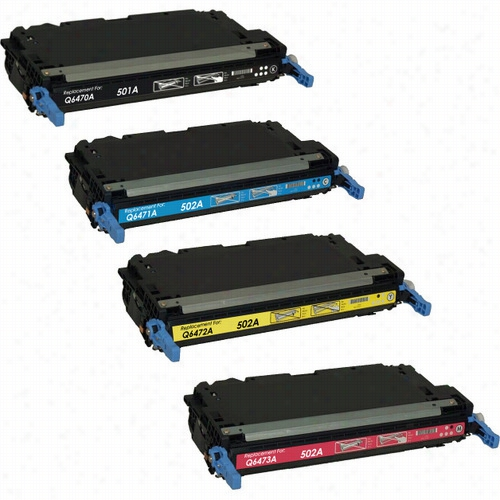4 Pack - Premium remanufactured replacement toner cartridge for HP 501A and HP 502A, (Q6470A, (Q6470A, Q6471A, Q6472A, Q6473A) Set includes 1 Black, 1 Cyan, 1 Yellow and 1 Magenta toner cartridge