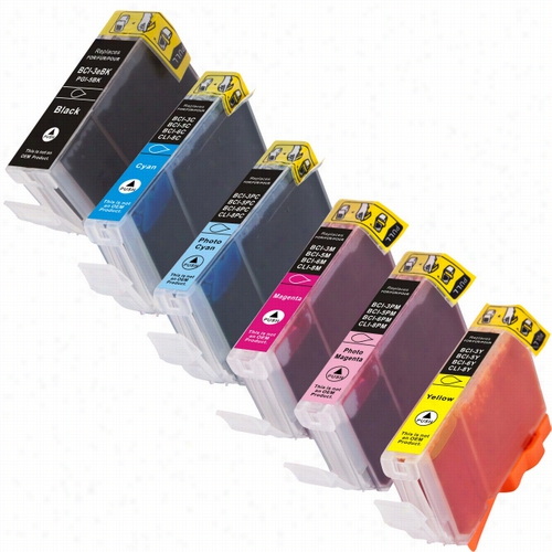 6 Pack - Premium compatible replacement ink cartridge for Canon BCI-6 series. Set includes 1 Black, 1 Cyan, 1 Magenta, 1 Yellow, 1 Photo Cyan, and 1 Photo Magenta ink cartridges