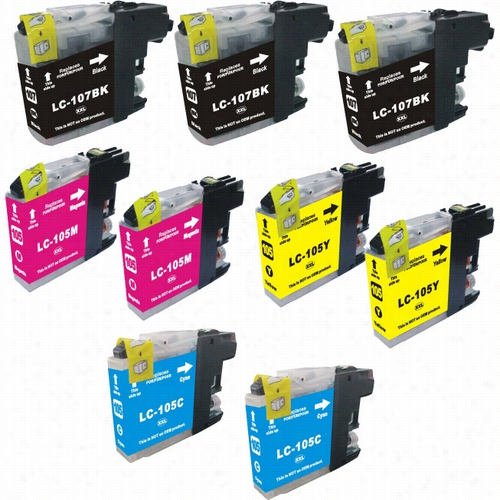 9 Pack - Premium compatible replacement ink cartridge for Brother LC107 Black and LC105 Color set. Set includes 4 Black, 2 Cyan, 2 Magenta and 2 Yellow
