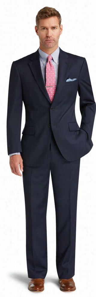 Signature 2-Button Tailored Fit Wool Suit With Plain Front Trousers