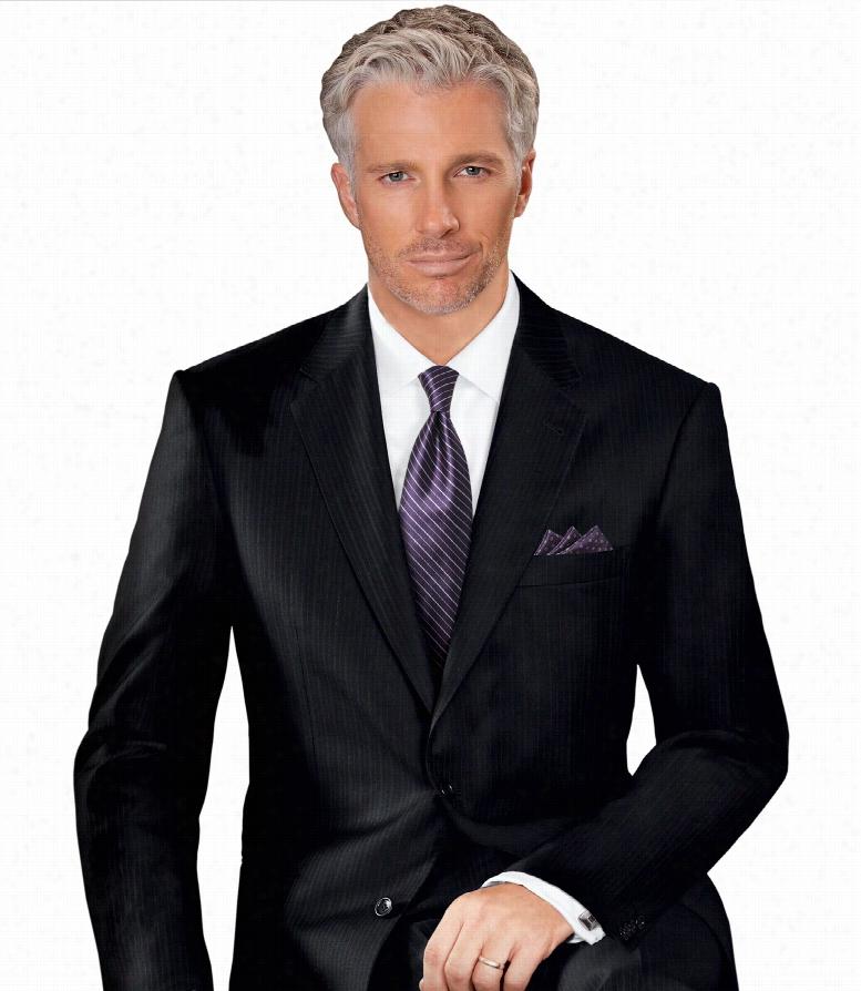 Signature Platinum Wool 2-Button Side Vent Suits- Black Stripe, Charcoal Tic Weave, Navy Thin Stripe