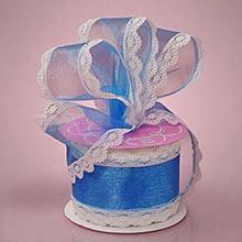 "1ea - 2-1/2"" X 10yd Blue Lindy Lace/Sheer Ribbon"