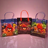 12ea - Angry Birds Plastic Handle Bag (Assorted) - Large