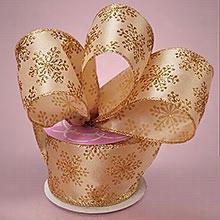 """1ea - 2-1/2"""" X 10yd Gold/Gold Snowflake Satin Ribbon"""