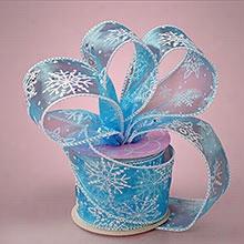 "1ea - 2-1/2"" X 10yd Lt Blue Frozen Snowflake Sheer Ribbn"