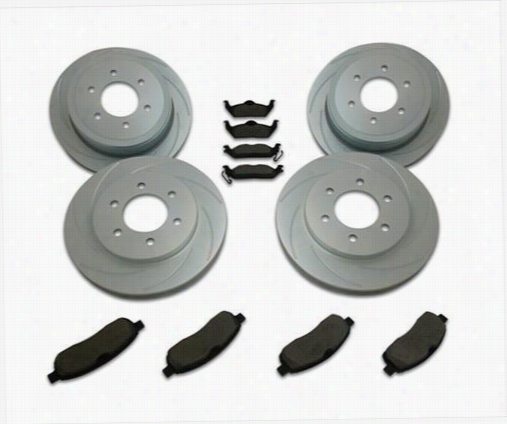 Stainless Steel Brakes Rotor Kit - Short Stop - Turbo Slotted Rotor & Pad Kit A2351030 Disc Brake Pad and Rotor Kits