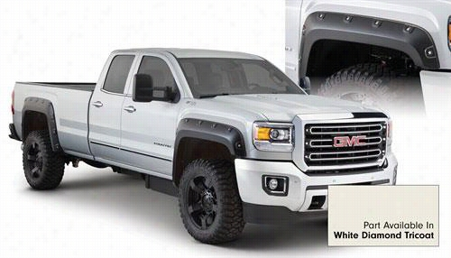 2015 GMC SIERRA 2500 HD Bushwacker GMC Sierra Boss Pocket Style Fender Flare Set in White Diamond Tricoat