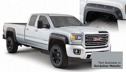 2015 GMC SIERRA 2500 HD Bushwacker GMC Sierra Boss Pocket Style Fender Flare Set in Quicksilver Metallic