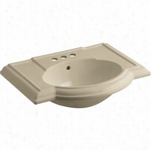 "Kohler K-2295-4-33 - 27"" Single Bowl Pedestal 3-Hole 4"" Centers Bathroom Vitreous China Bathroom Sink Only with Overflow, Less Pedestal Base, 27 1/2"" x 19 7/8"
