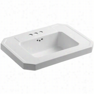 "Kohler K-2323-4-0 - 27"" Single Bowl Pedestal 3-Hole 4"" Centers Fireclay Bathroom Sink Only with Overflow, Less Pedestal Base, 27"" x 20"