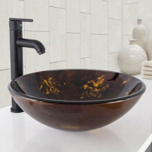 Vigo Industries VGT1029 - Brown and Gold Fusion Glass Vessel Bathroom Sink and Seville Bathroom Vessel Faucet
