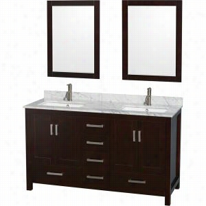 "Wyndham Collection WCS141460DESCMUNSM24 - 60"" Double Bathroom Vanity, White Carrera Marble Countertop, Undermount Square Sinks, & 24"" Mirrors"