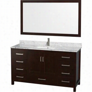 "Wyndham Collection WCS141460SESCMUNSM58 - 60"" Single Bathroom Vanity, White Carrera Marble Countertop, Undermount Square Sink, & 58"" Mirror"