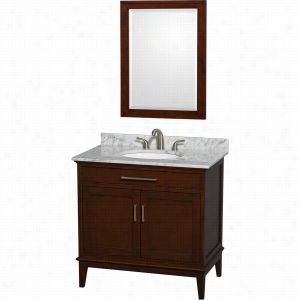"Wyndham Collection WCV161636SCDCMUNRM24 - 36"" Single Bathroom Vanity, White Carrera Marble Countertop, Undermount Oval Sink, & 24"" Mirror"