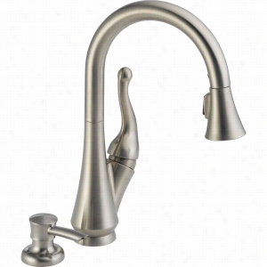 Delta Faucet 16968-SSSD-DST - Single Handle Pull-Down Kitchen Faucet With Soap Dispenser
