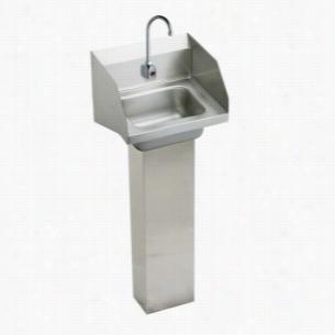 Elkay CHSP1716LRSSACMC - Hand Wash-Up Pedestal Sink Package with Backsplash & Sensor Faucet