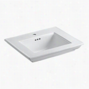 "Kohler K-2345-1-0 - 24"" Single Bowl Pedestal Stately Design 1-Hole Fireclay Bathroom Sink Only with Overflow, less Pedestal Base, 24 1/2"" x 20 1/2"