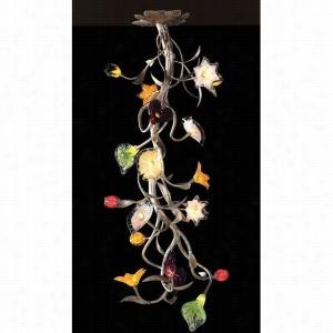 Elk Lighting 1697-19 - 19 LIGHT CHANDELIER LEAF AND HAND FORMED GLASS FLOWERS