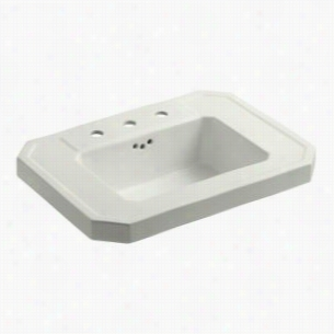 """KOHLER K-2323-8-NY - 27"""" Single Bowl Pedestal 3-Hole 8"""" Centers Fireclay Bathroom Sink Only with Overflow, Less Pedestal Base, 27"""" x 20"""