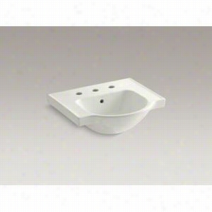 "KOHLER K-5247-8-NY - 21"" Single Bowl Pedestal Vitreous China 3-Hole 8"" Centers Bathroom Sink Only with Overflow Less Pedestal Base"