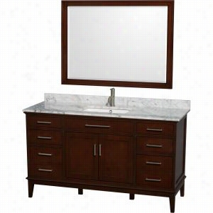 "Wyndham Collection WCV161660SCDCMUNSM44 - 60"" Single Bathroom Vanity, White Carrera Marble Countertop, Undermount Square Sink, & 44"" Mirror"