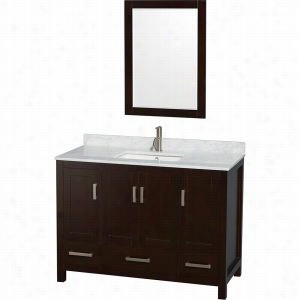 "Wyndham Collection WCS141448SESCMUNSM24 - 48"" Single Bathroom Vanity, White Carrera Marble Countertop, Undermount Square Sink, & 24"" Mirror"
