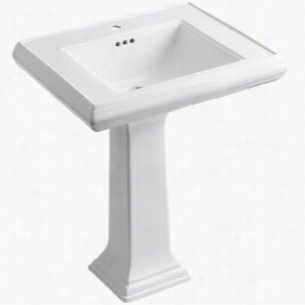 "Kohler - K-2258-1-0 - 27"" Single Bowl Pedestal Classic Design Fireclay 1-Hole Bathroom Sink with Overflow, 27"" x 22"" x 35"