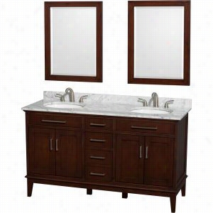 "Wyndham Collection WCV161660DCDCMUNRM24 - 60"" Double Bathroom Vanity, White Carrera Marble Countertop, Undermount Oval Sinks, & 24"" Mirrors"