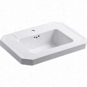 "Kohler K-2323-1-0 - 27"" Single Bowl Pedestal 1-Hole Fireclay Bathroom Sink Only with Overflow, Less Pedestal Base, 27"" x 20"