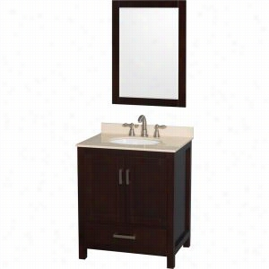 "Wyndham Collection WCS141430SESIVUNOM24 - 30"" Single Bathroom Vanity, Ivory Marble Countertop, Undermount Oval Sink, & 24"" Mirror"