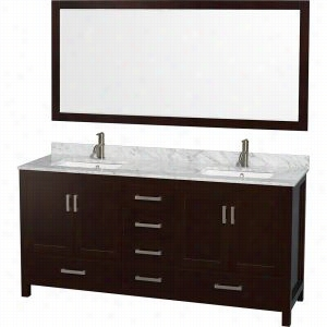 "Wyndham Collection WCS141472DESCMUNSM70 - 72"" Double Bathroom Vanity, White Carrera Marble Countertop, Undermount Square Sinks, & 70"" Mirror"