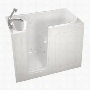 American Standard 2848.104.WLW - 4 ft. Left Hand Drain Walk-In Whirlpool Tub with Quick Drain in White