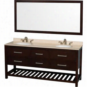 "Wyndham Collection WCS211172DESIVUNOM70 - 72"" Double Bathroom Vanity, Ivory Marble Countertop, Undermount Oval sinks, & 70"" Mirror"