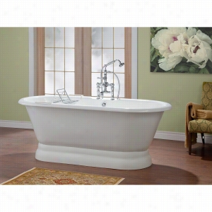 Cheviot 2164-WW-7 - Cast Iron Bathtub with Pedestal Base and Flat Area For Faucet Holes 7 Inch Drilling LESS Faucet