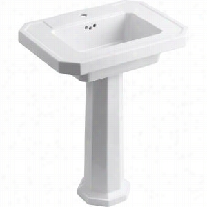 "Kohler - K-2322-1-0 - 27"" Single Bowl Pedestal 1-Hole Fireclay Bathroom Sink with Overflow, 27"" x 20"" x 35"