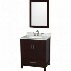"Wyndham Collection WCS141430SESCMUNOM24 - 30"" Single Bathroom Vanity, White Carrera Marble Countertop, Undermount Oval Sink, & 24"" Mirror"