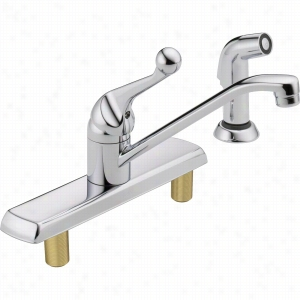 Delta Faucet 420LF - Classic Single Handle Kitchen Faucet with Spray