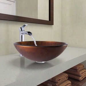Vigo Industries VGT1078 - Russet Glass Vessel Bathroom Sink and Niko Faucet Set in Chrome Finish