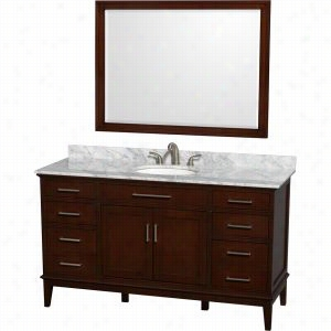 "Wyndham Collection WCV161660SCDCMUNRM44 - 60"" Single Bathroom Vanity, White Carrera Marble Countertop, Undermount Oval Sink, & 44"" Mirror"