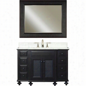Water Creation LONDON-48B - 48 In. Dark Espresso Single Sink Bathroom Vanity And LONDON-M-4836 Matching Mirror